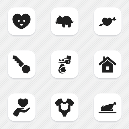 Set Of 9 Editable Folks Icons. Includes Symbols Such As Lock, Child, Heart And More. Can Be Used For Web, Mobile, UI And Infographic Design. Imagens - 76893828