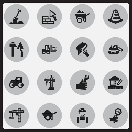 scrubs: Set Of 16 Editable Building Icons. Includes Symbols Such As Trolley, Oar, Facing And More. Can Be Used For Web, Mobile, UI And Infographic Design. Illustration