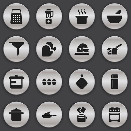 originator: Set Of 16 Editable Food Icons. Includes Symbols Such As Kitchen Glove, Pot-Holder, Shredder And More. Can Be Used For Web, Mobile, UI And Infographic Design.
