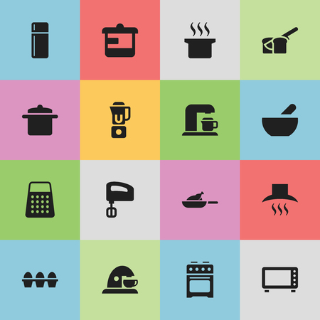 originator: Set Of 16 Editable Meal Icons. Includes Symbols Such As Soup, Stove , Hand Mixer. Can Be Used For Web, Mobile, UI And Infographic Design.