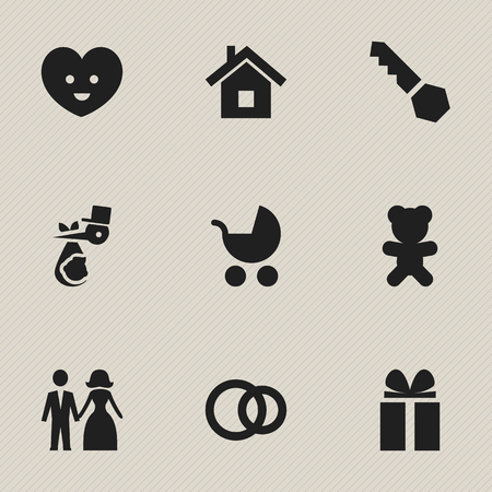 Set Of 9 Editable Folks Icons. Includes Symbols Such As Hoop, Gift, Married And More. Can Be Used For Web, Mobile, UI And Infographic Design. Ilustração