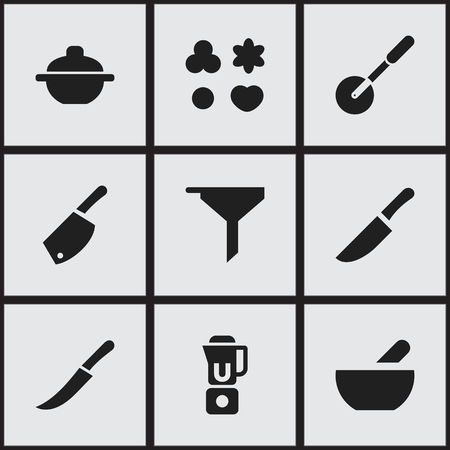 Set Of 9 Editable Cooking Icons. Includes Symbols Such As Knife Roller, Soup, Saucepan And More. Can Be Used For Web, Mobile, UI And Infographic Design.