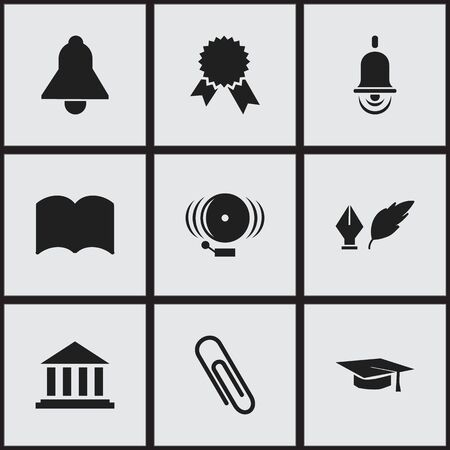baccalaureate: Set Of 9 Editable University Icons. Includes Symbols Such As Museum, Alarm Bell, Literature And More. Can Be Used For Web, Mobile, UI And Infographic Design.