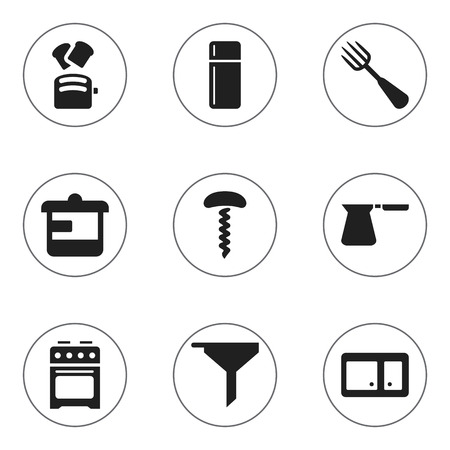 Set Of 9 Editable Meal Icons. Includes Symbols Such As Utensil, Stove, Coffee Pot And More. Can Be Used For Web, Mobile, UI And Infographic Design. Illustration