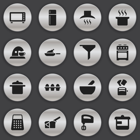 Set Of 16 Editable Cooking Icons. Includes Symbols Such As Filtering, Bakery, Shredder And More. Can Be Used For Web, Mobile, UI And Infographic Design.