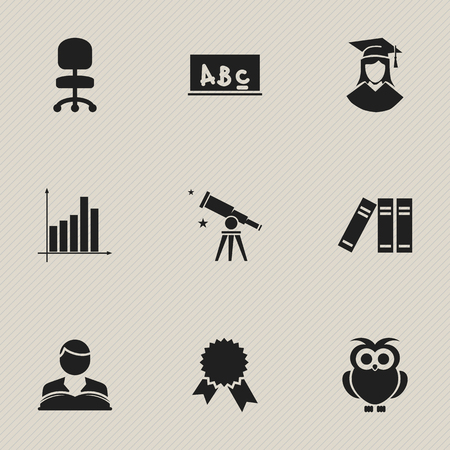 baccalaureate: Set Of 9 Editable Graduation Icons. Includes Symbols Such As Binoculars, Bookshelf, Graduated Female And More. Can Be Used For Web, Mobile, UI And Infographic Design.