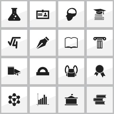 Ensemble de 16 icônes d'éducation modifiable. Comprend des symboles tels que bibliothèque, Cerebrum, racine mathématique et plus. Peut être utilisé pour la conception Web, mobile, UI et infographique.