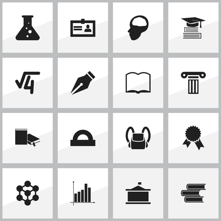 baccalaureate: Set Of 16 Editable Education Icons. Includes Symbols Such As Library, Cerebrum, Math Root And More. Can Be Used For Web, Mobile, UI And Infographic Design. Illustration