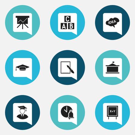 9 編集可能な教育のアイコンのセットです。アルファベット キューブ、大学、黒板などの記号が含まれています。Web、モバイル、UI、インフォ グラ