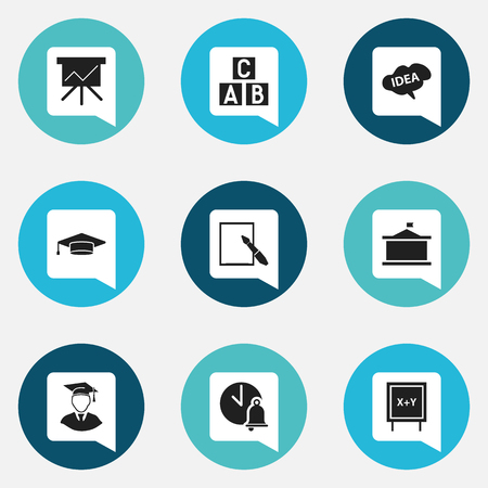 Set Of 9 Editable Education Icons. Includes Symbols Such As Alphabet Cube, Univercity, Blackboard And More. Can Be Used For Web, Mobile, UI And Infographic Design. Illustration