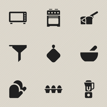 Set Of 9 Editable Cooking Icons. Includes Symbols Such As Kitchen Glove, Hand Mixer, Pot-Holder. Can Be Used For Web, Mobile, UI And Infographic Design. Çizim
