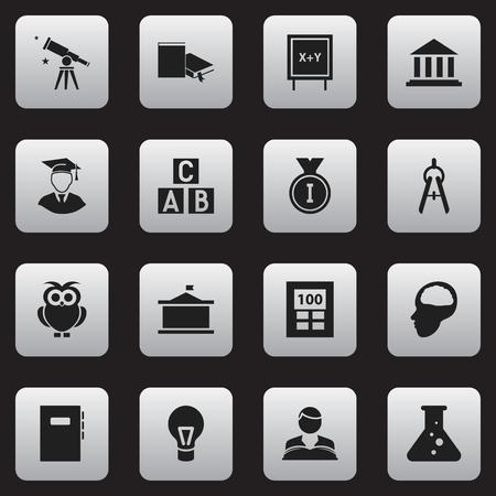 Ensemble de 16 icônes scolaires modifiables. Comprend des symboles tels que lampe, oiseau de nuit, université, etc. Peut être utilisé pour la conception Web, mobile, UI et infographique. Vecteurs
