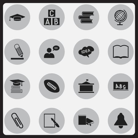 Set Of 16 Editable University Icons. Includes Symbols Such As Alphabet Cube, Thinking Man, School Board And More. Can Be Used For Web, Mobile, UI And Infographic Design. Illustration