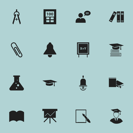 Set Of 16 Editable Education Icons. Includes Symbols Such As Calculator, Education, Graduation Hat And More. Can Be Used For Web, Mobile, UI And Infographic Design.
