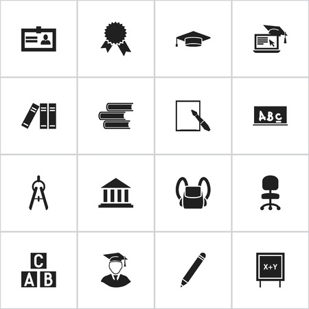 Set Of 16 Editable Science Icons. Includes Symbols Such As Work Seat, Schoolbag, Notepaper And More. Can Be Used For Web, Mobile, UI And Infographic Design.