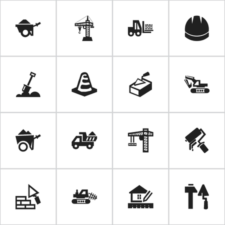 Set Of 16 Editable Building Icons. Includes Symbols Such As Construction Tools, Camion, Excavation Machine And More. Can Be Used For Web, Mobile, UI And Infographic Design.