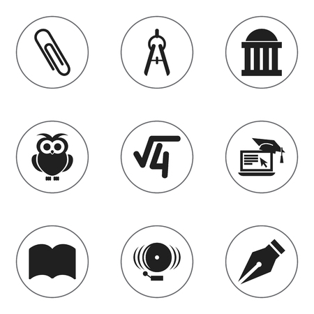 Set Of 9 Editable University Icons. Includes Symbols Such As Dictionary, Ring, Distance Learning And More. Can Be Used For Web, Mobile, UI And Infographic Design. Illustration