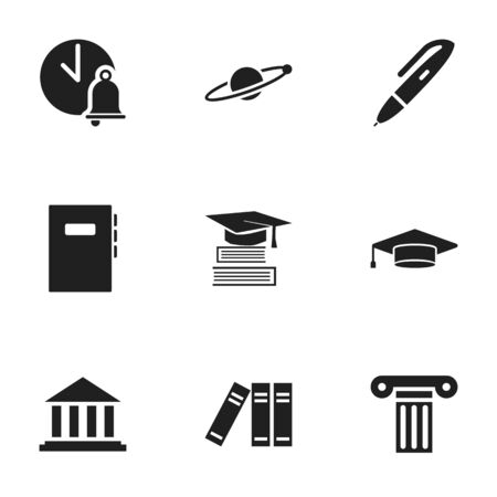 Set Of 9 Editable Education Icons. Includes Symbols Such As Bookshelf, Workbook, Graduate And More. Can Be Used For Web, Mobile, UI And Infographic Design.