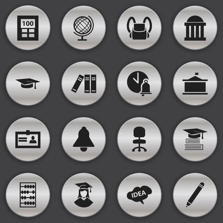 Ensemble de 16 icônes universitaires modifiables. Comprend des symboles tels que la salle d'audience, l'éducation, la bibliothèque et plus encore. Peut être utilisé pour la conception Web, mobile, UI et infographique. Vecteurs