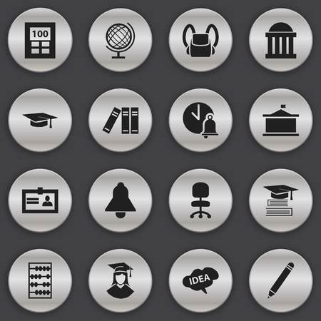 baccalaureate: Set Of 16 Editable University Icons. Includes Symbols Such As Courtroom, Education, Bookshelf And More. Can Be Used For Web, Mobile, UI And Infographic Design. Illustration