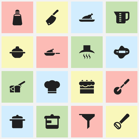 Set Of 16 Editable Cook Icons. Includes Symbols Such As Utensil, Backsword, Dough And More. Can Be Used For Web, Mobile, UI And Infographic Design. Illustration