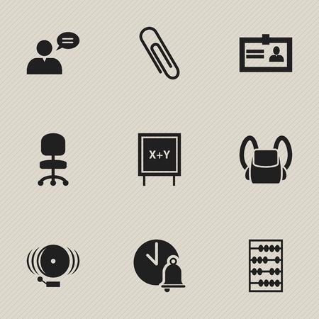 Ensemble de 9 icônes scolaires modifiables. Comprend des symboles tels que bague, agrafe, cloche d'école, etc. Peut être utilisé pour la conception Web, mobile, UI et infographique.