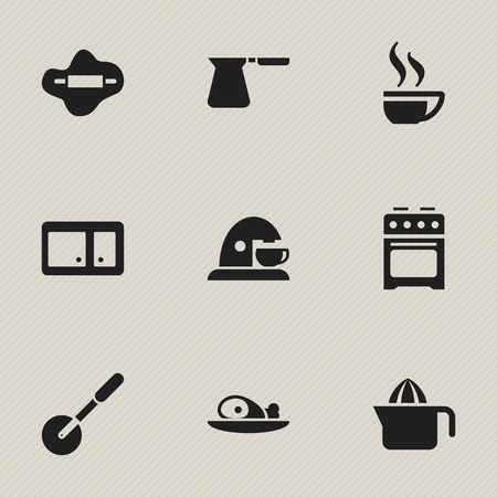 piece of furniture: Set Of 9 Editable Cook Icons. Includes Symbols Such As Sideboard, Knife Roller, Coffee Cup And More. Can Be Used For Web, Mobile, UI And Infographic Design.
