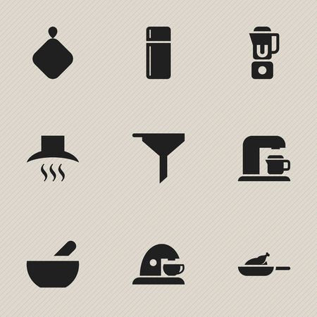 pad: Set Of 9 Editable Cook Icons. Includes Symbols Such As Pot-Holder, Hand Mixer, Cup. Can Be Used For Web, Mobile, UI And Infographic Design.