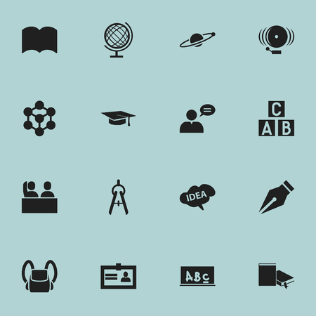 Set Of 16 Editable Science Icons. Includes Symbols Such As Certification, Math Tool, Alphabet Cube And More. Can Be Used For Web, Mobile, UI And Infographic Design.