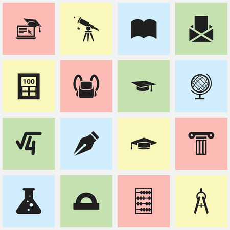 Set Of 16 Editable University Icons. Includes Symbols Such As Math Root, Arithmetic, Nib And More. Can Be Used For Web, Mobile, UI And Infographic Design. Illustration
