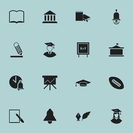 Ensemble de 16 icônes d'éducation modifiables. Comprend des symboles tels que livre, tableau noir, école, cloche, etc. Peut être utilisé pour la conception Web, mobile, UI et infographique.