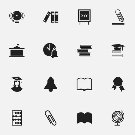 Set Of 16 Editable Graduation Icons. Includes Symbols Such As School Bell, Staple, Arithmetic And More. Can Be Used For Web, Mobile, UI And Infographic Design.