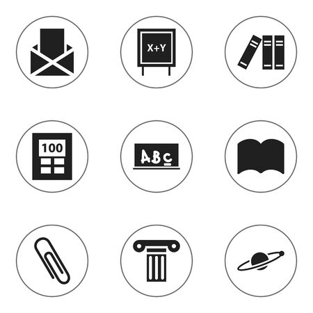 Set Of 9 Editable Graduation Icons. Includes Symbols Such As Astrology, Bookshelf, Blackboard And More. Can Be Used For Web, Mobile, UI And Infographic Design. Illustration