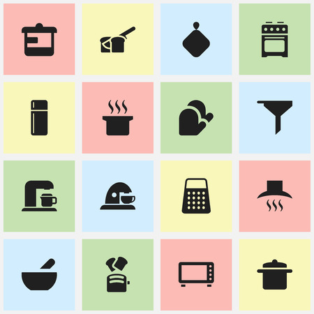 pad: Set Of 16 Editable Cooking Icons. Includes Symbols Such As Shredder, Cup, Slice Bread And More. Can Be Used For Web, Mobile, UI And Infographic Design.