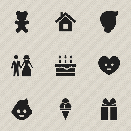 Set Of 9 Editable Folks Icons. Includes Symbols Such As Toy, Baby, Gift And More. Can Be Used For Web, Mobile, UI And Infographic Design. Imagens - 77013358