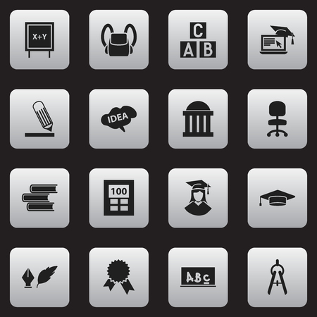 baccalaureate: Set Of 16 Editable School Icons. Includes Symbols Such As Schoolbag, Calculator, Graduated Female And More. Can Be Used For Web, Mobile, UI And Infographic Design.