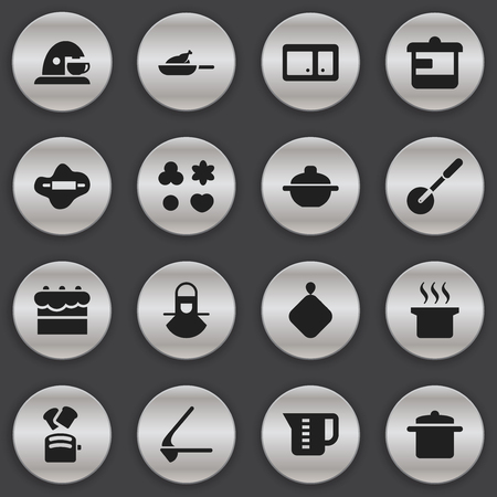 pad: Set Of 16 Editable Food Icons. Includes Symbols Such As Saucepan, Slice Bread, Pastry And More. Can Be Used For Web, Mobile, UI And Infographic Design.