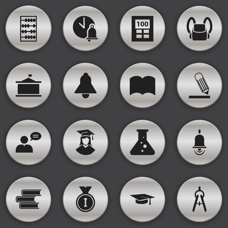 Set Of 16 Editable School Icons. Includes Symbols Such As Calculator, Arithmetic, Graduated Female And More. Can Be Used For Web, Mobile, UI And Infographic Design. Illustration