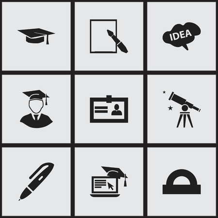 Set Of 9 Editable School Icons. Includes Symbols Such As Diplomaed Male, Semicircle Ruler, Notepaper And More. Can Be Used For Web, Mobile, UI And Infographic Design.