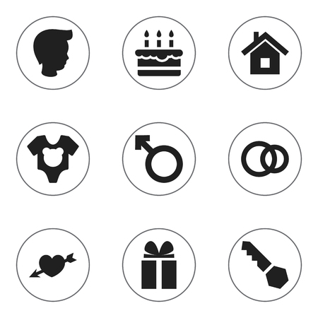 Set Of 9 Editable Folks Icons. Includes Symbols Such As Love, Lock, Patisserie And More. Can Be Used For Web, Mobile, UI And Infographic Design.