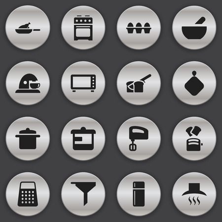 originator: Set Of 16 Editable Food Icons. Includes Symbols Such As Refrigerator, Egg Carton, Slice Bread And More. Can Be Used For Web, Mobile, UI And Infographic Design. Illustration
