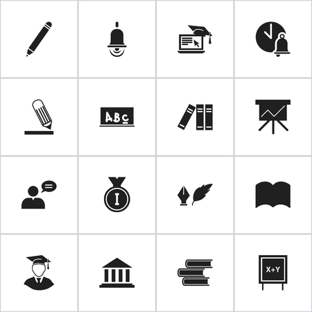 Set Of 16 Editable Education Icons. Includes Symbols Such As Pencil, Thinking Man, First Place And More. Can Be Used For Web, Mobile, UI And Infographic Design. Ilustração