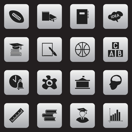 Set Of 16 Editable University Icons. Includes Symbols Such As Alphabet Cube, Diplomaed Male, Library And More. Can Be Used For Web, Mobile, UI And Infographic Design.