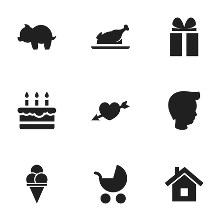 Set Of 9 Editable Family Icons. Includes Symbols Such As Home, Gift, Cold Dessert And More. Can Be Used For Web, Mobile, UI And Infographic Design. Çizim
