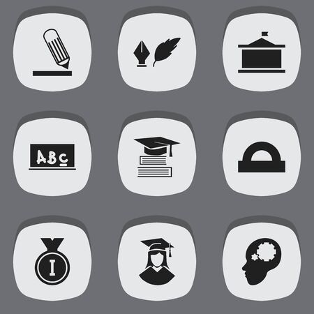 semicircle: Set Of 9 Editable Graduation Icons. Includes Symbols Such As Education, School Board, Univercity And More. Can Be Used For Web, Mobile, UI And Infographic Design. Illustration