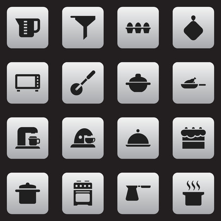 Set Of 16 Editable Meal Icons. Includes Symbols Such As Knife Roller, Stove, Cookware And More. Can Be Used For Web, Mobile, UI And Infographic Design.