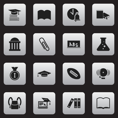 computer education: Set Of 16 Editable Education Icons. Includes Symbols Such As Chemistry, Courtroom, Oval Ball And More. Can Be Used For Web, Mobile, UI And Infographic Design.