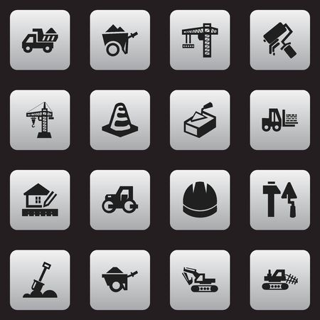 camion: Set Of 16 Editable Building Icons. Includes Symbols Such As Camion, Caterpillar, Oar And More. Can Be Used For Web, Mobile, UI And Infographic Design.
