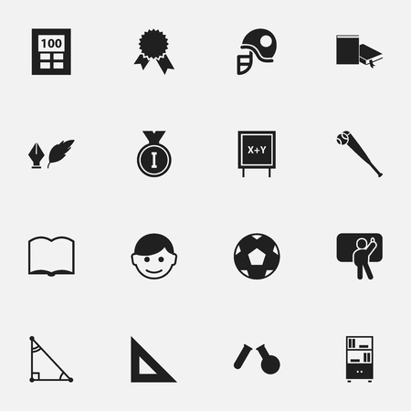 Set Of 16 Editable School Icons. Includes Symbols Such As Hardhat, Literature, First Place And More. Can Be Used For Web, Mobile, UI And Infographic Design.