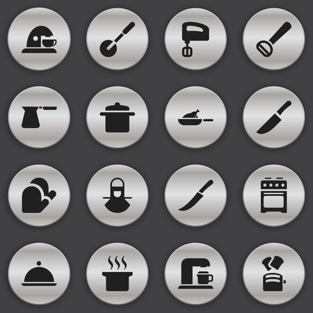 originator: Set Of 16 Editable Food Icons. Includes Symbols Such As Knife, Stove, Cookware And More. Can Be Used For Web, Mobile, UI And Infographic Design.